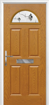 4 Panel 1 Arch Murano Composite Front Door in Oak