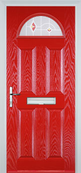 4 Panel 1 Arch Murano Timber Solid Core Door in Poppy Red