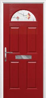 4 Panel 1 Arch Murano Composite Front Door in Red