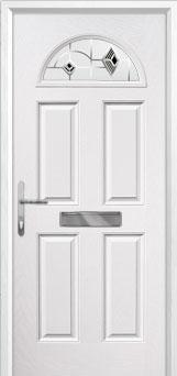 4 Panel 1 Arch Murano Composite Front Door in White