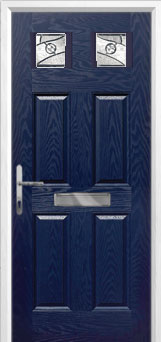 4 Panel 2 Square Abstract Composite Front Door in Blue
