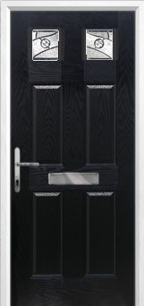 4 Panel 2 Square Abstract Composite Front Door in Black