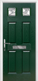 4 Panel 2 Square Abstract Composite Front Door in Green