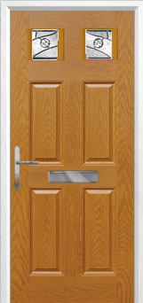 4 Panel 2 Square Abstract Composite Front Door in Oak