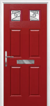 4 Panel 2 Square Abstract Composite Front Door in Red