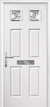 4 Panel 2 Square Abstract Composite Front Door in White