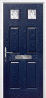 4 Panel 2 Square Classic Composite Front Door in Blue
