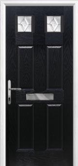 4 Panel 2 Square Classic Composite Front Door in Black