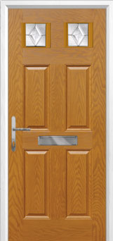 4 Panel 2 Square Classic Composite Front Door in Oak