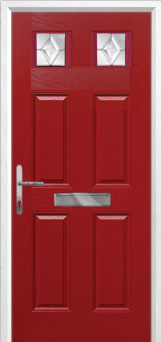4 Panel 2 Square Classic Composite Front Door in Red
