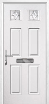 4 Panel 2 Square Classic Composite Front Door in White