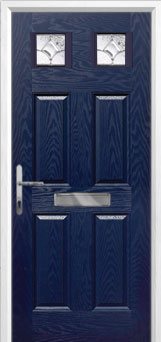 4 Panel 2 Square Zinc/Brass Art Clarity Composite Front Door in Blue