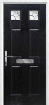 4 Panel 2 Square Zinc/Brass Art Clarity Composite Front Door in Black