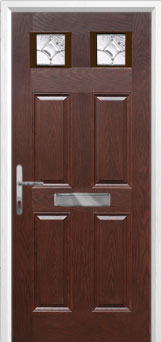 4 Panel 2 Square Zinc/Brass Art Clarity Composite Front Door in Darkwood