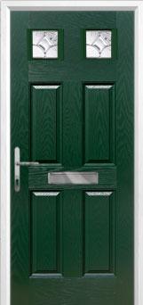 4 Panel 2 Square Zinc/Brass Art Clarity Composite Front Door in Green