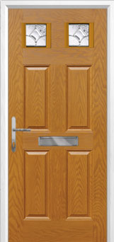 4 Panel 2 Square Zinc/Brass Art Clarity Composite Front Door in Oak