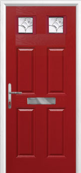 4 Panel 2 Square Zinc/Brass Art Clarity Composite Front Door in Red