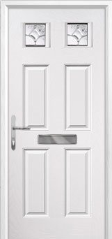 4 Panel 2 Square Zinc/Brass Art Clarity Composite Front Door in White