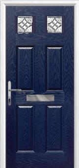 4 Panel 2 Square Elegance Composite Front Door in Blue