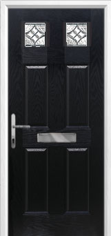4 Panel 2 Square Elegance Composite Front Door in Black