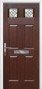 4 Panel 2 Square Elegance Composite Front Door in Darkwood