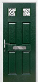 4 Panel 2 Square Elegance Composite Front Door in Green