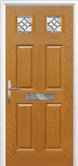 4 Panel 2 Square Elegance Composite Front Door in Oak