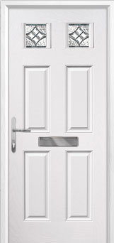 4 Panel 2 Square Elegance Composite Front Door in White