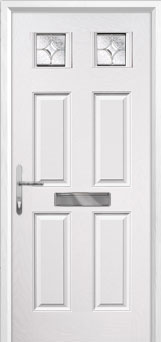 4 Panel 2 Square Flair Composite Front Door in White