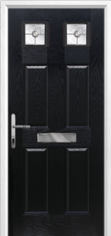 4 Panel 2 Square Finesse Composite Front Door in Black