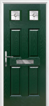 4 Panel 2 Square Finesse Composite Front Door in Green