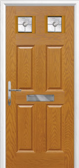 4 Panel 2 Square Finesse Composite Front Door in Oak