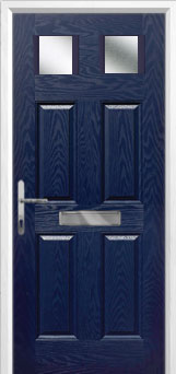 4 Panel 2 Square Glazed Composite Front Door in Blue