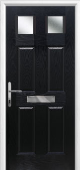 4 Panel 2 Square Glazed Composite Front Door in Black