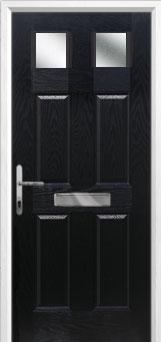 4 Panel 2 Square Glazed Composite Front Door in Black