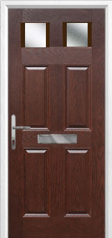 4 Panel 2 Square Glazed Composite Front Door in Darkwood