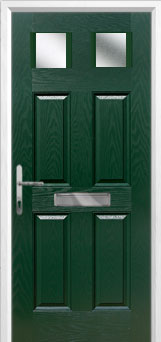 4 Panel 2 Square Glazed Composite Front Door in Green