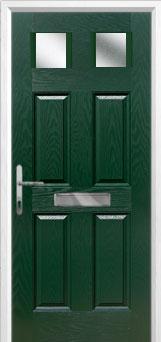 4 Panel 2 Square Glazed Composite Front Door in Green