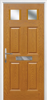 4 Panel 2 Square Glazed Composite Front Door in Oak
