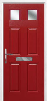 4 Panel 2 Square Glazed Composite Front Door in Red