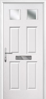 4 Panel 2 Square Glazed Composite Front Door in White