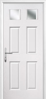 4 Panel 2 Square Glazed Composite Back Door in White