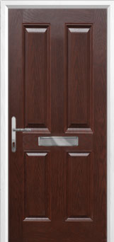 4 Panel Composite Front Door in Darkwood