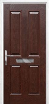 4 Panel Composite Front Door in Darkwood