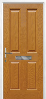 4 Panel Composite Front Door in Oak