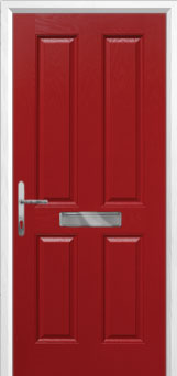 4 Panel Composite Front Door in Red