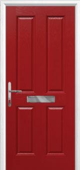 4 Panel Composite FD30 Fire Door in Red