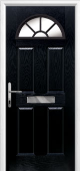 4 Panel Sunburst Composite Front Door in Black