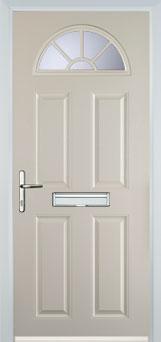 4 Panel Sunburst Composite Front Door in Cream