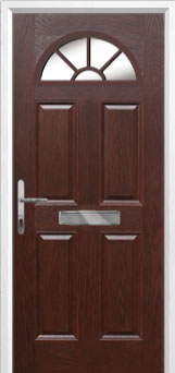 4 Panel Sunburst Composite Front Door in Darkwood